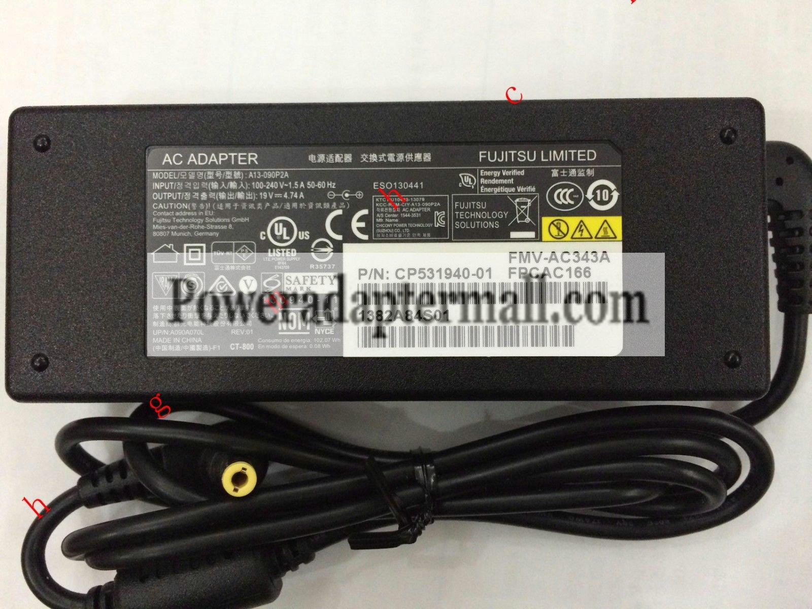 19V 4.74A Fujitsu LIFEBOOK E736 E744 E734 AC Adapter A13-090P2A