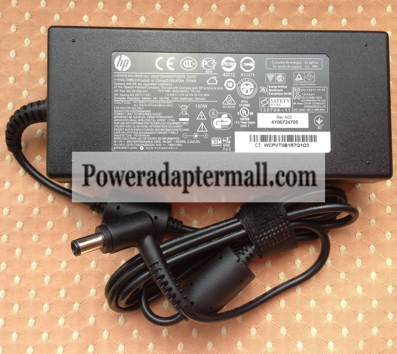 19.5V 7.69A HP 697317-001 TPC-LA52 PA-1151-09HA AC Adapter