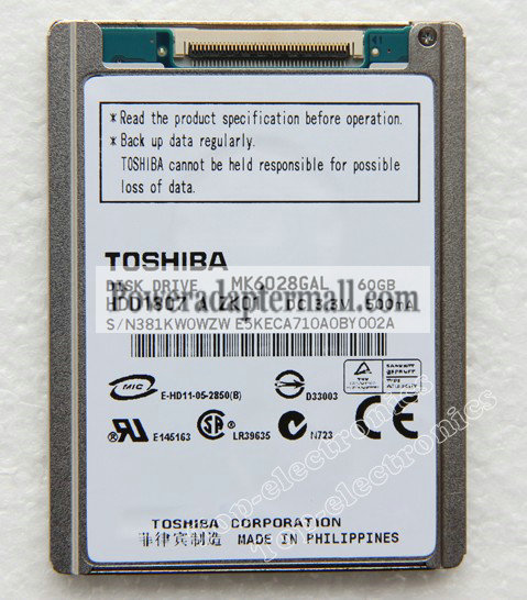 1.8'' ZIF 60GB TOSHIBA MK6028GAL Notebook Hard Disk Drive HDD